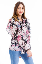CHEMISE CHIC ROSE A FLEURS
