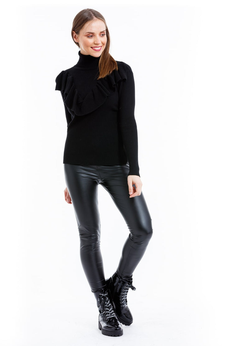 PULL CHIC NOIR COL ROULE