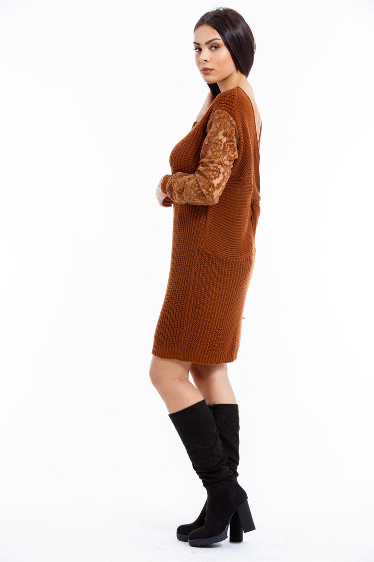 ROBE MANCHE DENTELLE CAMEL A MAILLE
