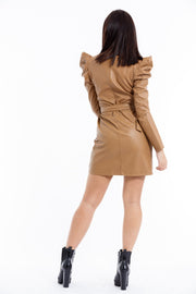 ROBE CHIC CAMEL SIMILI CUIR