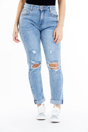 JEANS RELAXED FIT  BLEU DECHIRE