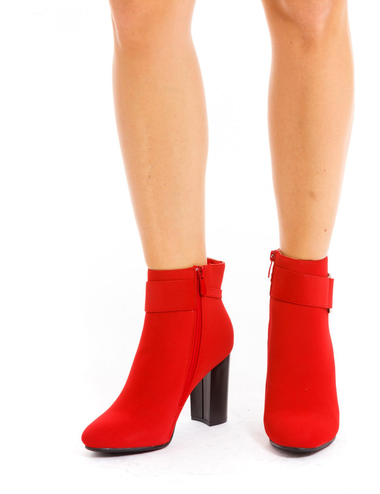 BOTTINES STRASS ROUGE A TALONS