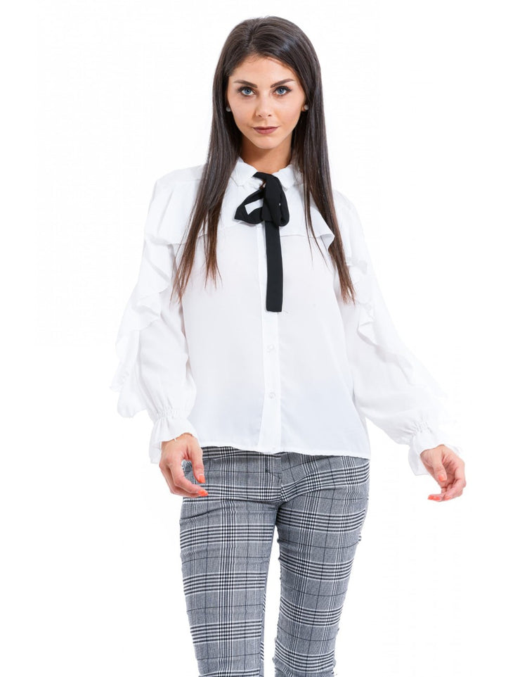 CHEMISE COL A NOEUD BLANC