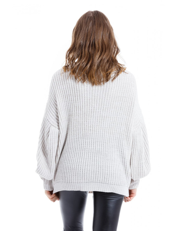 PULL A MAILLE BEIGE COL ROULE