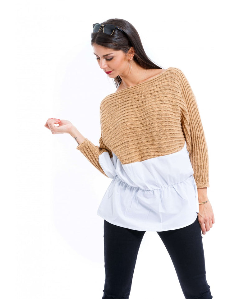 PULL CHEMISE INTEGRE TAUPE