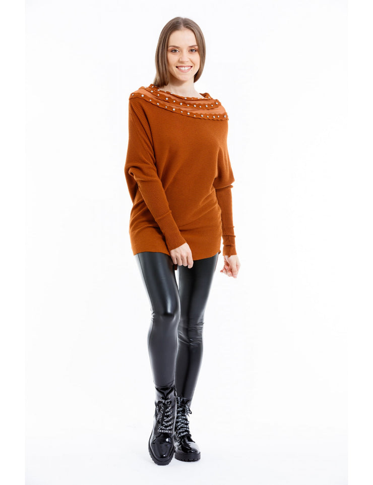 PULL COL A STRASS CAMEL