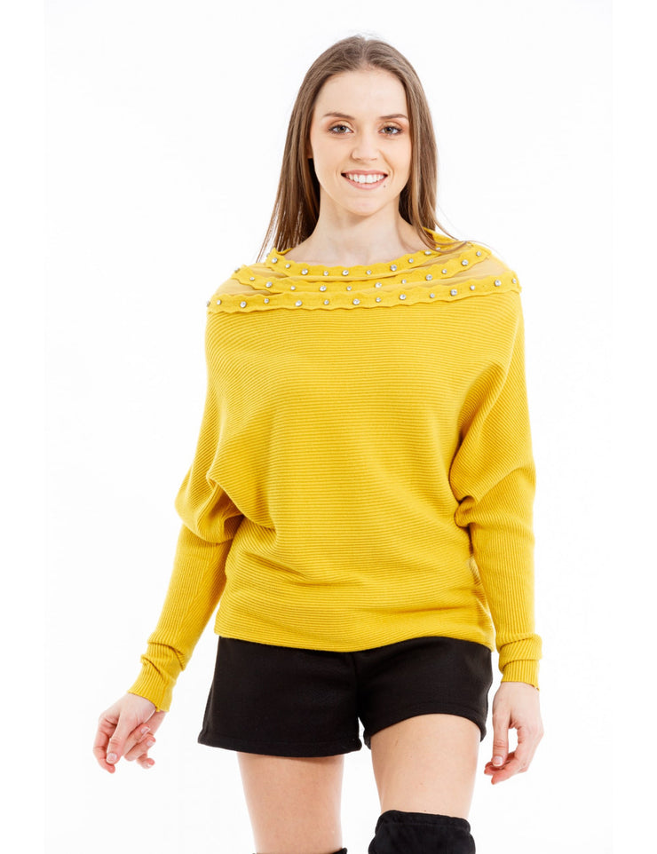 PULL COL A STRASS MOUTARDE