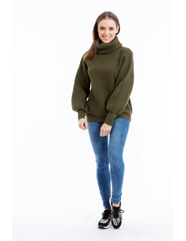 PULL COL ROULE VERT A MAILLE