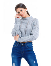 PULL COURT A MAILLE GRIS