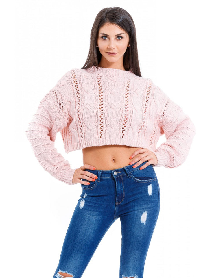 PULL COURT A MAILLE ROSE