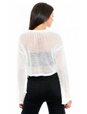 PULL COURT BLANC A MAILLE