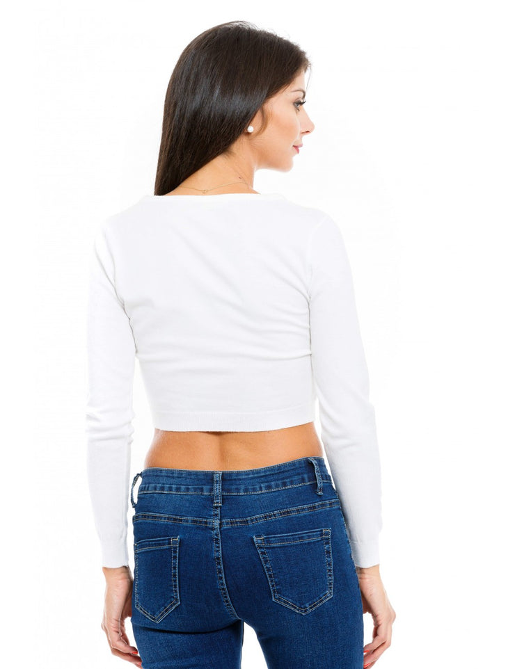 PULL COURT BLANC A STRASS