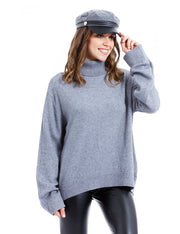 PULL GRIS COL ROULE