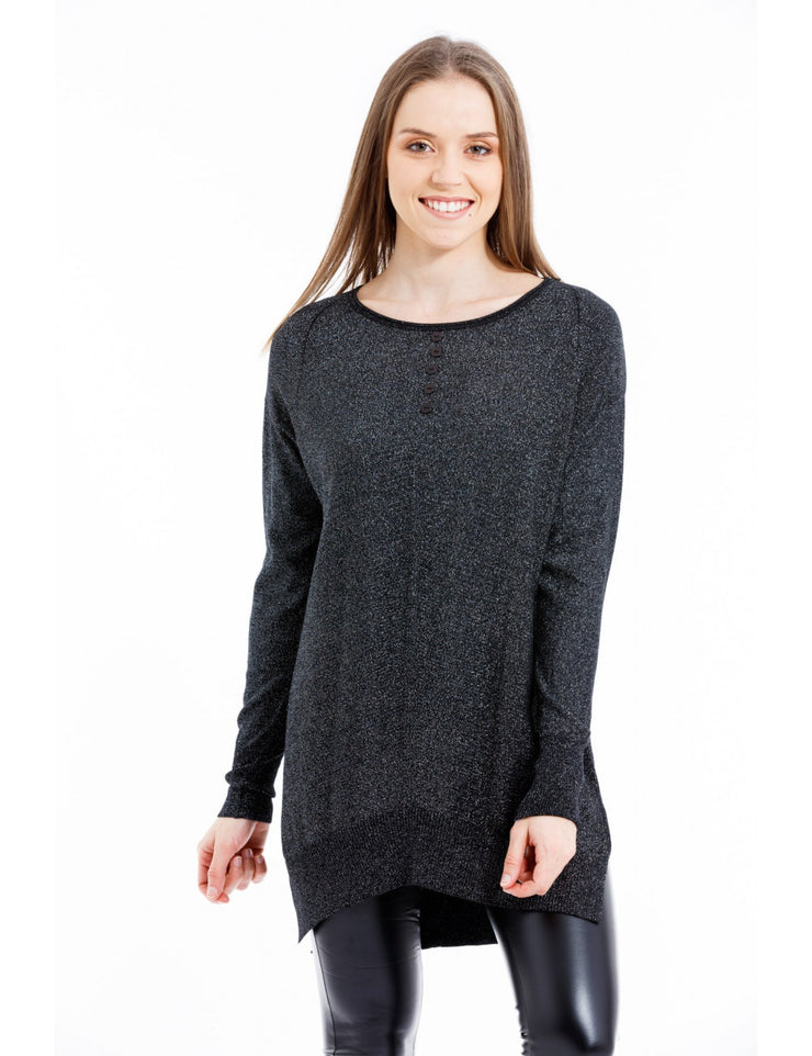 PULL LARGE COL A BOUTONS NOIR