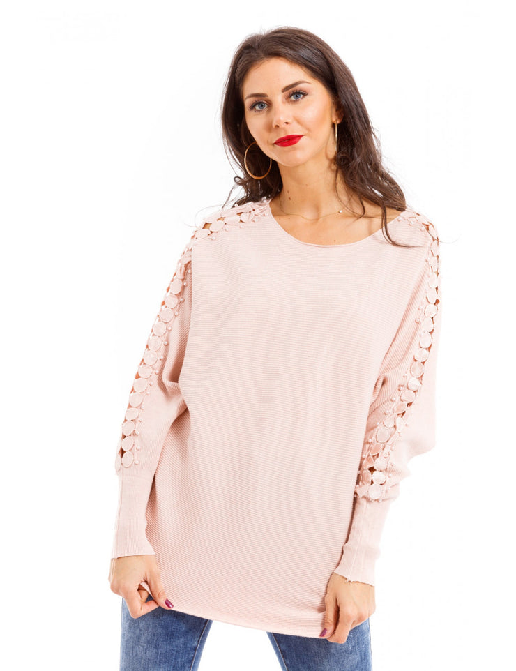 PULL MANCHE A PERLES ROSE