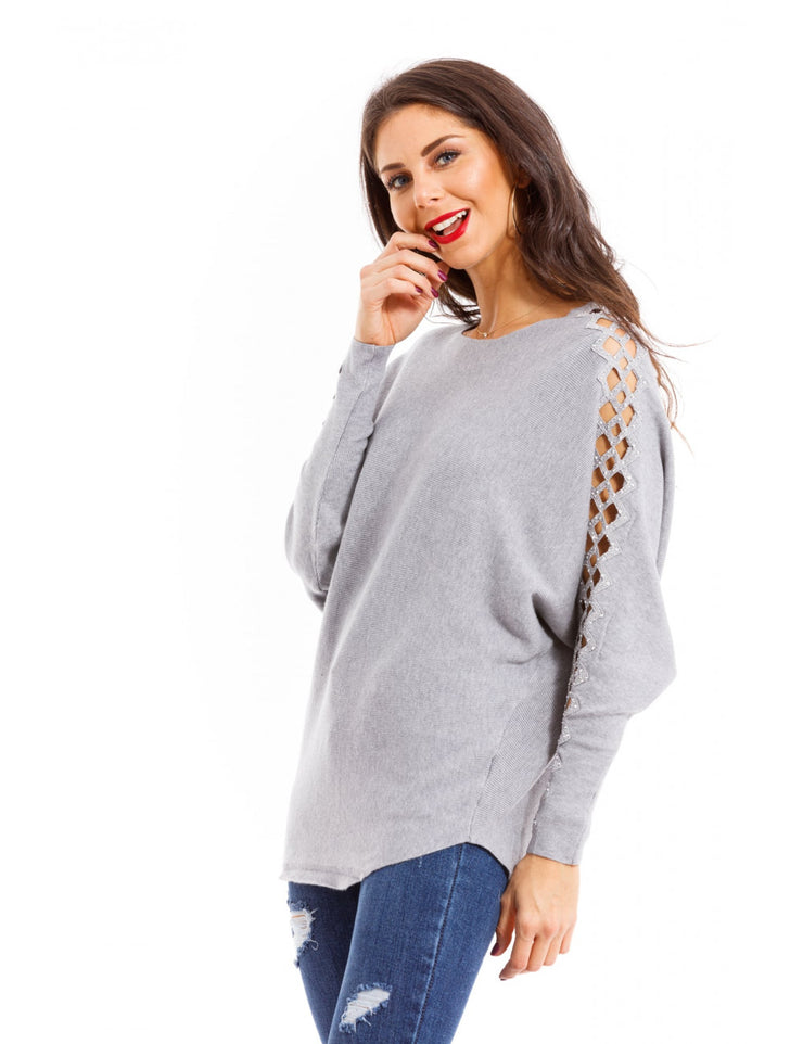 PULL MANCHE A STRASS GRIS
