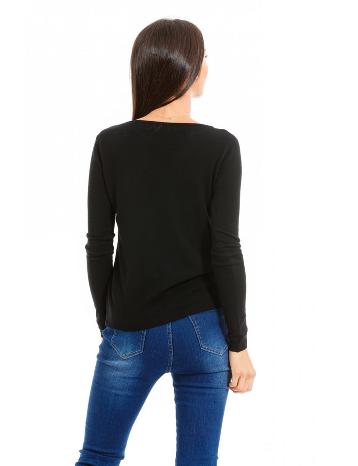 "PULL NOIR  A STRASS "" BEAUTIFUL"""