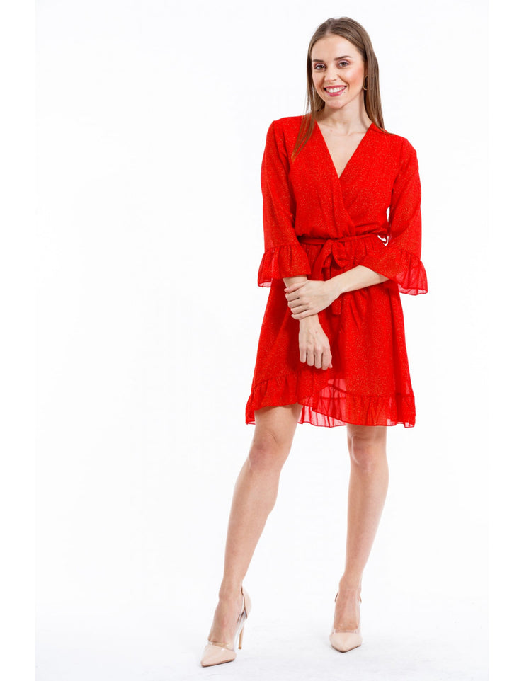 ROBE CHIC ROUGE PAILLETEE