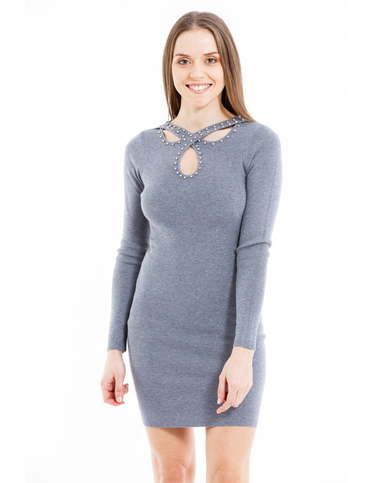 ROBE MOULANTE COL NOEUD STRASS GRIS