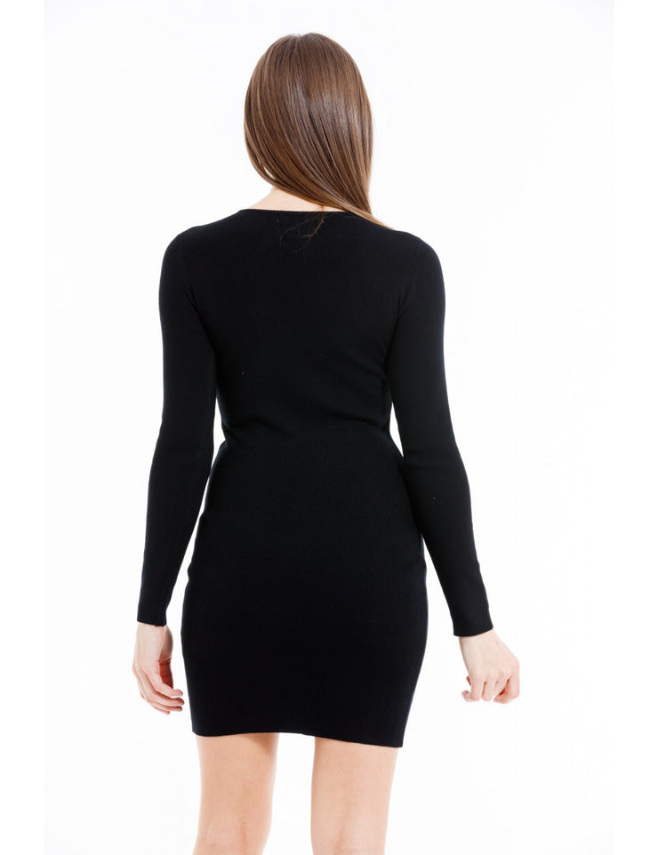 ROBE MOULANTE COL NOEUD STRASS NOIR