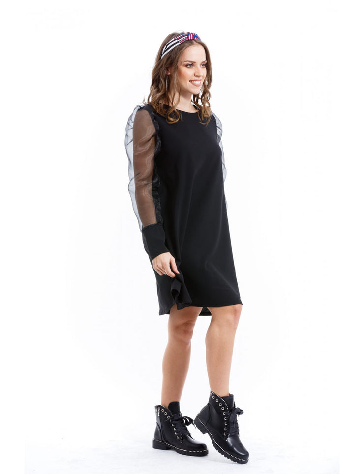 ROBE NOIR MANCHES TRANSPARTENTS
