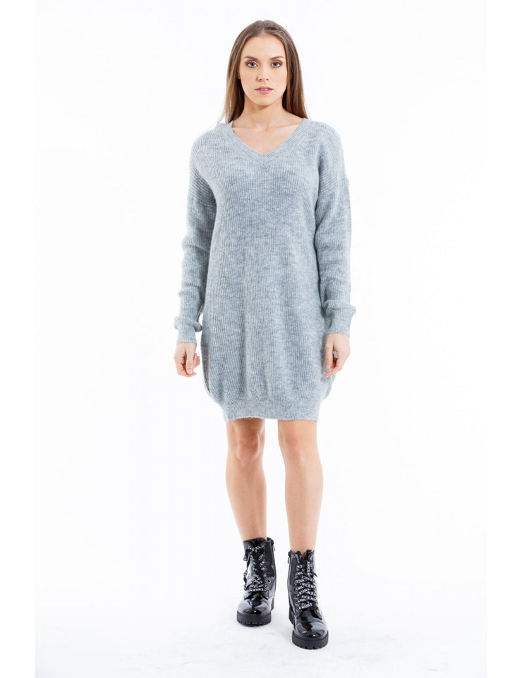 ROBE PULL A MAILLE GRIS