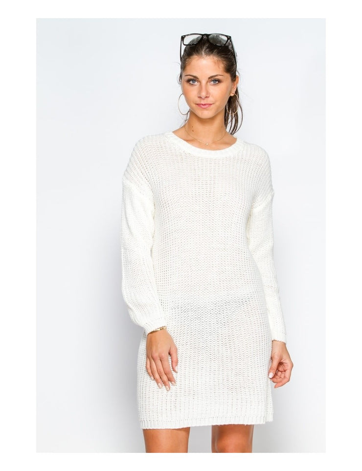 Robe pull BLANC dos nu