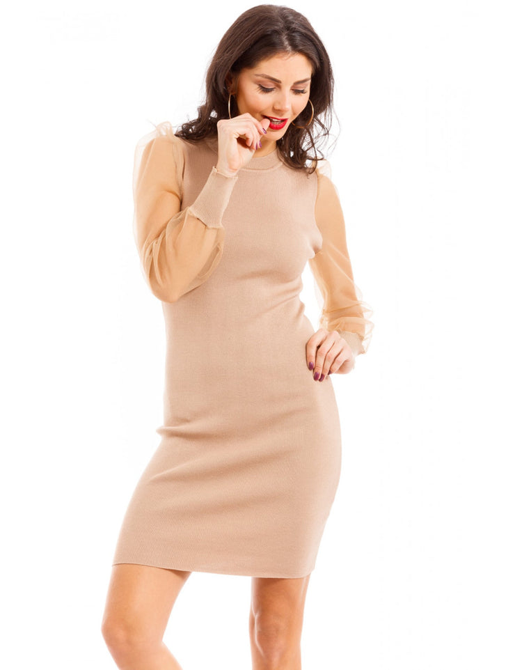 ROBE TAUPE MANCHE TRANSPARENTS