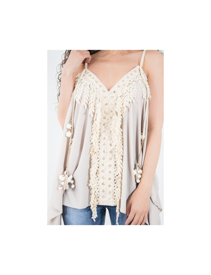 TOP BOHEME BEIGE A STRASS