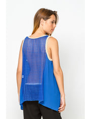 Top bleu royal dos à motif