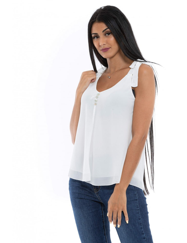 TOP FLUIDE BLANC A BOUTONS