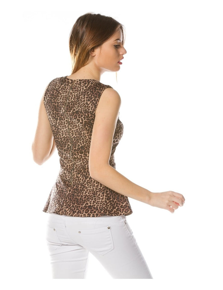 Top LEOPARD collier ras de cou
