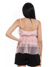 TOPS ROSE EN TULLE