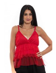 TOPS ROUGE EN TULLE