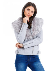 VESTE FOURREE GRIS COURT