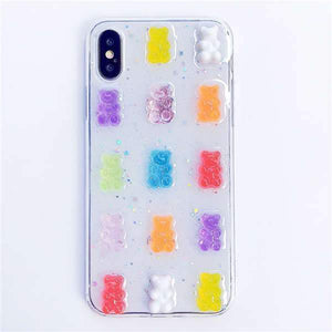 3D Transparent iPhone Case Teddy Bear Design iPhone Case casetent For iphone X