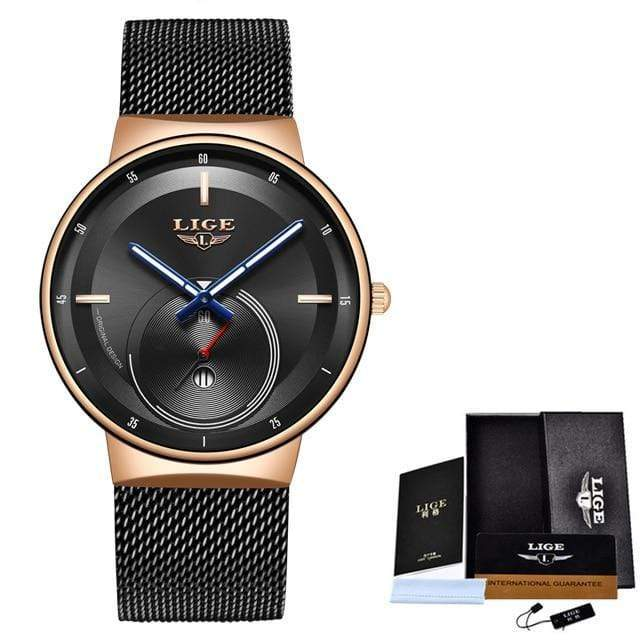 Classic Rose Gold Top Brand Women Watch Watch casetent Black rose black