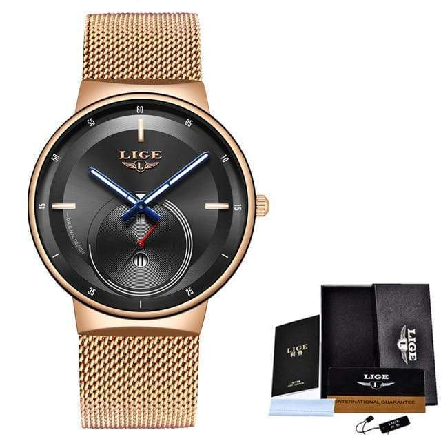 Classic Rose Gold Top Brand Women Watch Watch casetent Rose gold black