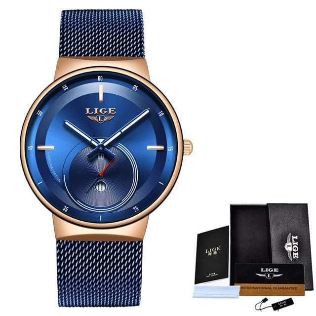 Classic Rose Gold Top Brand Women Watch Watch casetent Rose gold blue 2