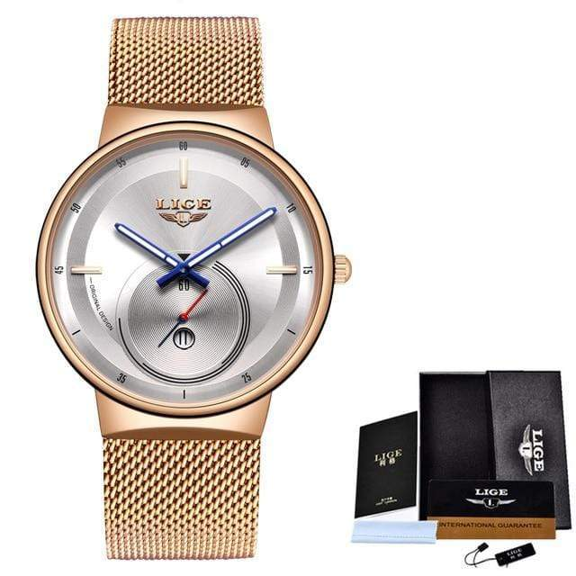 Classic Rose Gold Top Brand Women Watch Watch casetent Rose gold white