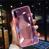 Diamond Mirror Phone Case For Samsung Galaxy Series Samsung Galaxy Case casetent A10 / Pink