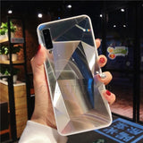Diamond Mirror Phone Case For Samsung Galaxy Series Samsung Galaxy Case casetent A6 2018 (A600) / Silver