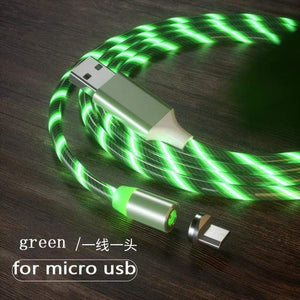 Magnetic charging Phone Cable USB Type C Charging Cable casetent green for micro usb / 1m
