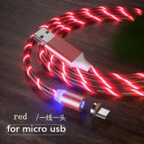 Magnetic charging Phone Cable USB Type C Charging Cable casetent red for micro usb / 1m