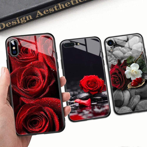 Red Rose Tempered Glass iPhone case iPhone Case casetent