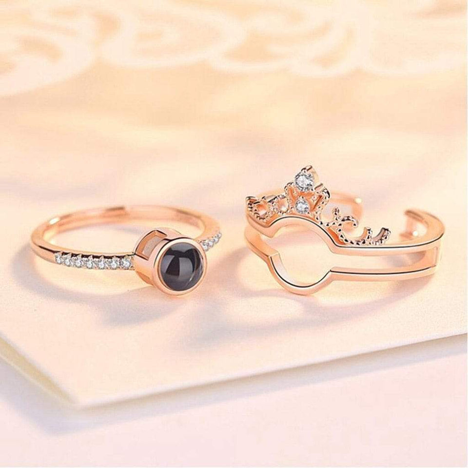 Rose Gold & Silver 100 languages I love you Projection Ring Ring casetent