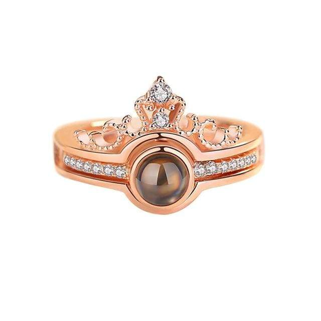 Rose Gold & Silver 100 languages I love you Projection Ring Ring casetent Resizable / A / China