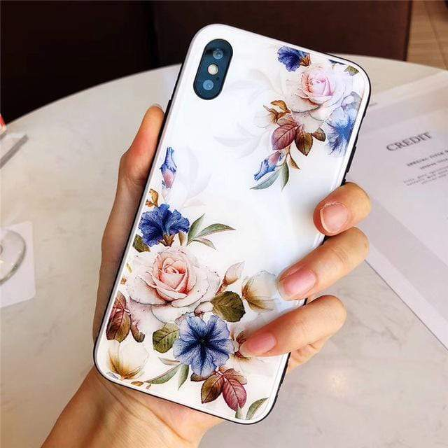 Rose Tempered Glass iPhone Case iPhone Case casetent for iphone 6Splus / White