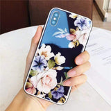 Rose Tempered Glass iPhone Case iPhone Case casetent for iphone 7 / bule black