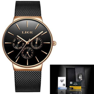 Top Brand Luxury Waterproof Watch Watch casetent Black Rose Gold